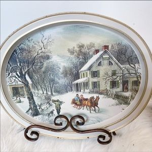 🌟5/$25 Currier & Ives American Home Serving  Tray
